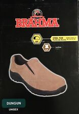 NEW Unisex Brahma Dungun Brown Suede Leather Steel Toe Slip On Shoes 8 8.5 9