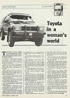 Vintage 1987 TOYOTA 4RUNNER 4WD CARS Advertisement/Article