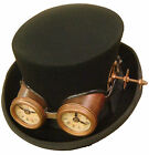 Raven Gothic Steampunk/victorian top hat with antique style goggles with clock f