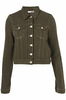 Topshop Khaki Moto Denim Jacket Blazer Outerwear UK 8 10 12 36 38 40 4 6 8 BNWT