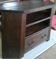 (any size made) SOLID WOOD CORNER TV STAND ENTERTAINMENT UNIT RUSTIC PLANK PINE