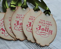 'TIS THE SEASON TO BE JOLLY-Christmas Gift Tags-Vintage Style-Set of 5-Handmade