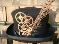 Raven Gothic Steampunk/victorian top hat with cogs