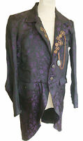 Raven Steampunk jaquard purple jacket with cogs, chain and magnify glass ra56gml