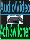 4 CAMERA SWITCHER+4CH AUDIO+S-VIDEO+WIRELESS REMOTE CCTV RCA vh915 COMPOSITE AV