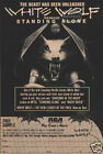 WHITE WOLF PINUP AD Standing Alone vtg 80s Canada Metal