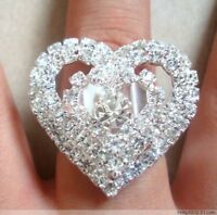 Wholesale 12Pcs HEART Fashion Crystal Rhinestone Rings fashion drop shipping