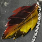 """Colorful .925 Silver 19"""" Curb Chain NECKLACE with BLACK LIP SHELL Leaf PENDANT"""