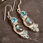 ".925 Silver LABRADORITE & Blue Topaz EARRINGS~ 2 1/8"" (53mm) ~ Up to 13.2g/.47oz"