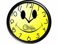 Happy Face/Smiley/Smilie/Hippie Wall Clock-Personalized