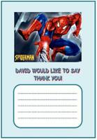 PERSONALISED SPIDERMAN THANK YOU NOTES x 10