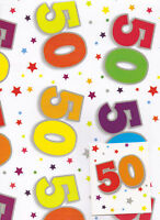 50th gift wrap 2 sheets birthday wrapping paper + tag