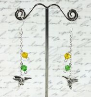 Cute Hummingbird Charms Yellow & Green Crystals Silver Plated Dangle Earrings