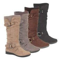 LADIES BIKER BOOTS ANKLE WOMENS FLAT BOOTS SIZE 3 - 8