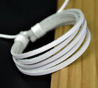6 Band White Leather Hemp Braided Bracelet Wristband NR