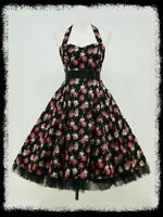BLACK FLORAL 50s PINUP ROCKABILLY SWING VTG PROM DRESS