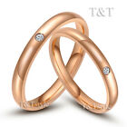 T&T 3mm Stainless Steel Wedding Band Ring Rose Gold With CZ For Couple Size 7-13