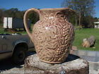 MAJOLICA pitcher brown & maroon, grapes & leaves