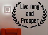 LIVE LONG AND PROSPER wall art sticker vinyl quote BEDROOM LOUNGE KITCHEN