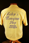 "VINTAGE 1960'S YELLOW COTTON EMBROIDERED & PRINTED BOWLING SHIRT ""BISHOP "" MED"