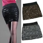 Sexy Bandage Glitter Sequin BodyCon Panel Party Mini Skirt 3 Col Selectable–S/M