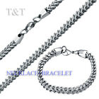 T&T 7mm 316L Stainless Steel SQUARE WHEAT Chain Necklace with Bracelet SET