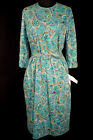 VINTAGE DEADSTOCK 1950'S-1960'S PATTY PETITE PRINT RAYON DRESS SIZE  10-12