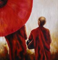 Buddhist Monks Oil Painting 24x24.NOT a poster, framing available,slight texture