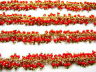 12 Inch 1.5 MM Coral Crystal Jumbo Cluster Sterling Vermeil Stone Link Chain
