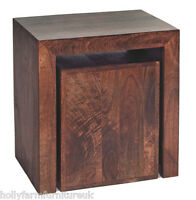 Dakota Solid Mango Wood Cube Nest of 2 Tables with Dark Walnut finish