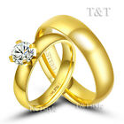 BRILLANT T&T 14 Gold GP Stainless Steel Wedding Band Ring For Couple
