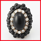 NEW Popular Design Cocktail Gold Black Crystal Oval Celebrity Style Fashion Ring