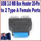 2 Ports USB 3.0 A Female HUB Out to Motherboard 20Pin Header Adapter Converter A