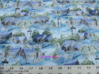 Blank Quilting Misty Harbor Lighthouses Blue Cabins Cotton Fabric BTY