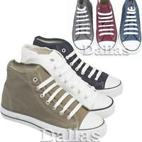 MENS HIGH HI TOPS TRAINERS BOYS CASUAL LACE UP ANKLE CANVAS BOOTS SHOES SIZE