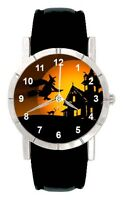 Halloween Witch Is Coming Mens Ladies Genuine Leather Quartz Wrist Watch SA2394
