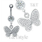 T&T Clear Crystal Butterfly Dangle Belly Bar Ring BL145A