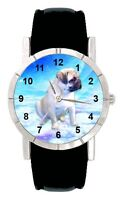 Pug Puppy Dog Paw Mens Ladies Genuine Leather Water Resistant Wrist Watch SA2010