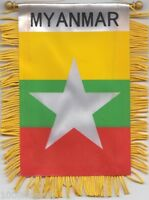Myanmar Flag Hanging Car Pennant for Car Window or Rearview Mirror