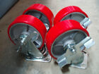 "Brand New Set of 4 x 6"" poly over cast casters, swivel with brake wheels"