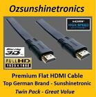 2 x 2.5 m Premium German Sunshinetronic Flat HDMI Cable v1.4 | Ethernet | 3D