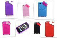 Cute 3D Bow Knot Hello Kitty iPod Touch 4th Gen Case Silicone 4g Cover
