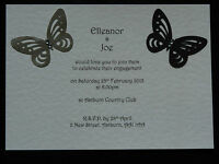 Pack of 50 Personalised Handmade Wedding Engagement Invitations Butterfly Design