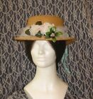 Adorable Straw Paper Pork Pie Hat Lady's Civil War Era Repro, for Reenactor SASS