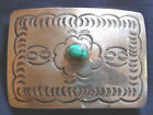 NATIVE AMERICAN, STERLING, TURQUOISE CAB, VINTAGE BUCKLE