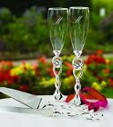 Personalized Love Knot Wedding Toasting Flutes Engraved Love Knot Silver Flutes