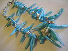 """Vintage Sky-Blue & Other Sea Shell Beads Strand Necklace, 20"""""""
