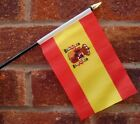 "SPAIN with crest HAND WAVING FLAG Small 6"" x 4"" with black pole SPANISH MADRID"