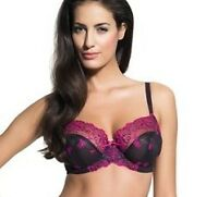 Panache Superbra Ariza Balcony Bra in Black with Pink 30 - 36 D - G Cup NEW