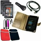 Amazon Kindle Fire Leather Case Cover 13 Item Complete Accessory Bundle Met Gold